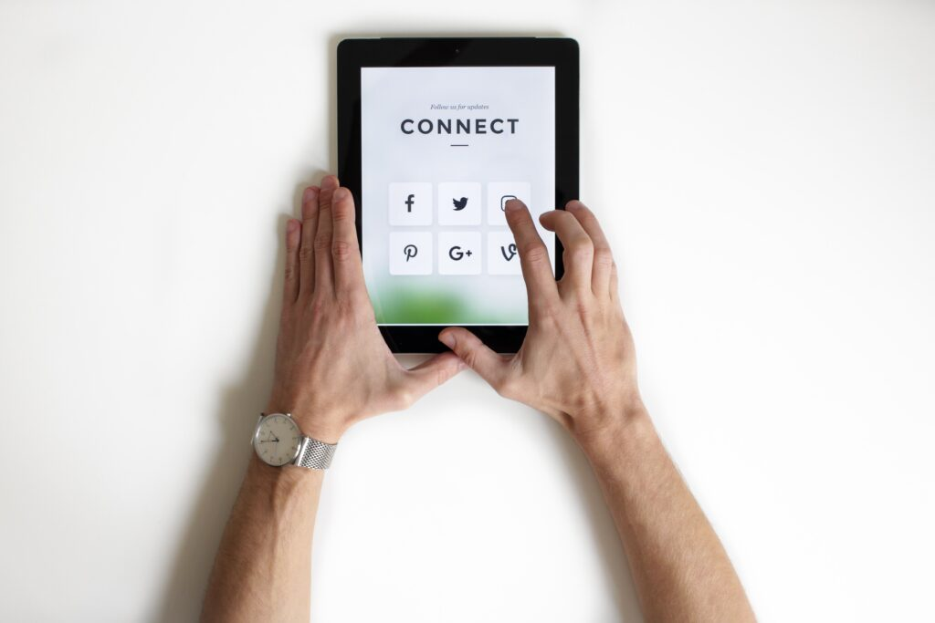 Navigating an iPad.